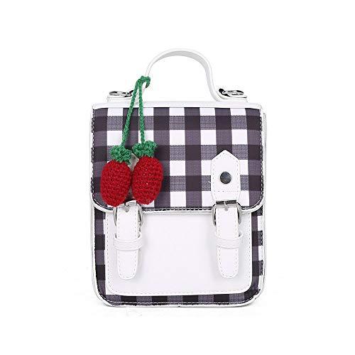 HZQY Frauen einfache frische und schöne Erdbeere Anhänger mit Karierten Rucksack -