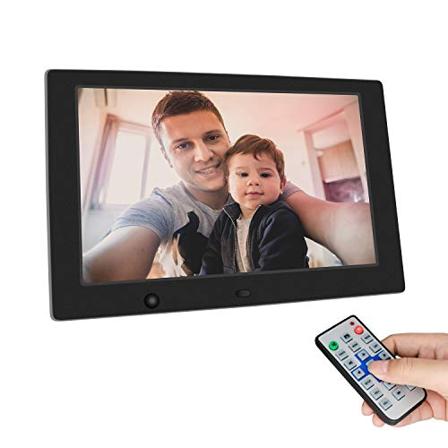 10 Zoll Digitaler Bilderrahmen, ODLICNO 1280 * 800 HD 180° 16:10 Full IPS Display Foto Video Musik Player mit Kalender/Wecker/Auto On/Off Timer Elektronischer Fotorahmen mit Fernbedienung (Schwarz)