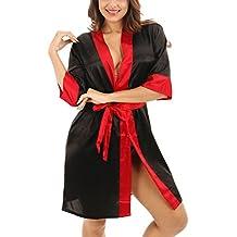 Dolamen Mujer Vestido Kimono Satén, Camisón para mujer, Lujoso Colores Trim Pijamas Camisón Robe Albornoz Dama de honor Fiesta de bodas Ropa de dormir Pijama
