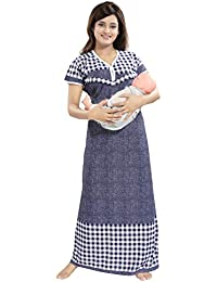 f0ed221a253e6 TUCUTE Women's Beautiful Checks Print with Border Feeding/Maternity/Nursing  Nighty/Nightwear.