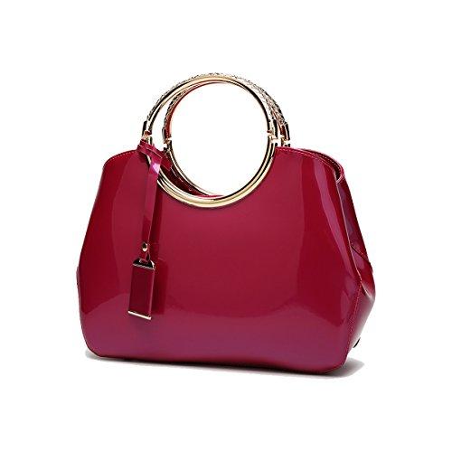 Coolives Damen mit Langer Schultergurt PU Lack Leder Goldener Ring Griff Handtasche Rose rot