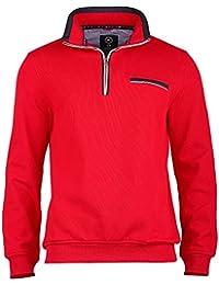 Claudio Campione Herren Sweatshirt mit Stehkragen rot XL