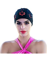 aiyuda Femme élégant Hollow Out Fleurs Bonnet de bain pour cheveux courts et longs