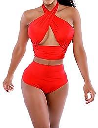 Mujer Escala Push Up De Talle Alto Bikini Bañador Bañadores Vendaje Trajes De Baño Rojo XL