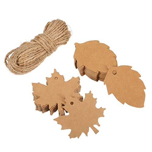Paper Maple Leaf Gift Tag with Binding Wires Goodchanceuk 200Pieces and Leaf Hanging Gift Label for Christmas Thanksgiving Weddings Halloween DIY Gift Tags with 20m Rope Each 100