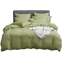 UMI. Essentials Klassisches Satin Gestreiftes Bettbezug-Set, Gebürstete Weiche Mikrofaser. (6 Größen, 12 Farben) (135 x 200 + 1x 80 x 80 cm, Grün)