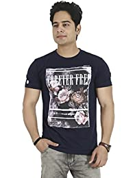 Basilio Men's Graphic Prints Pure Cotton NavyBlue T-Shirt