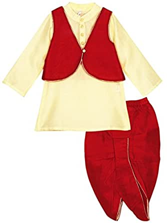 Lil Posh's Boys Full Sleeve Kurta, Dhoti and Jacket Set - Red/Ecru (3 - 4 Years)