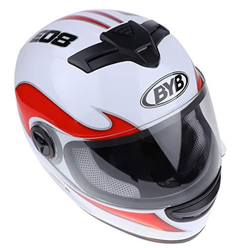 Shiwaki Verstellbare hochklappbar Motorrad-Verstellbare Helmgröße Skihelm mit Visier Schnellverschlusssystem - Weiße Flamme