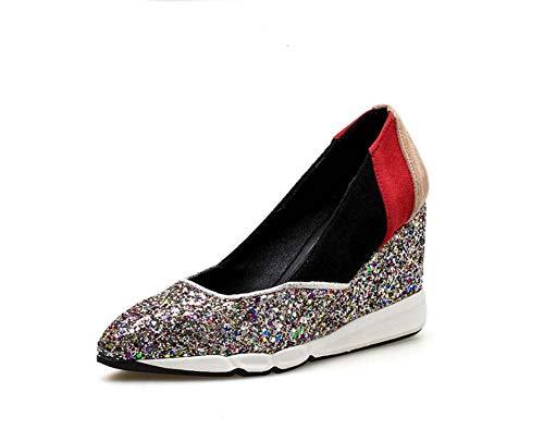 Mamrar Frauen Pumpen Loafer 9Cm Keil Ferse Colormatch Sequin Court Shoes Kleider Schuhe EU-Größe 34-40,Gold,37EU (Gold Keil Pumpe)