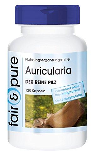 Auricularia 650mg - Der Reine Pilz (Auricularia auricula-judae)- vegan - natürlich - ohne Trennmittel - 120 Kapseln - 2-Monatsversorgung