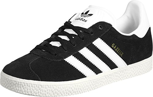 adidas Gazelle J, Scarpe Running Unisex - Bambini, Nero (Core Black/Footwear White/Gold Metall), 38 EU