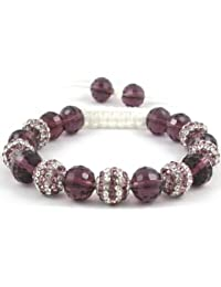 07-Ball Double Row Purple Bead Shamballa Bracelet with Purple Crystals on White String Ideal Gift for Christmas Birthdays