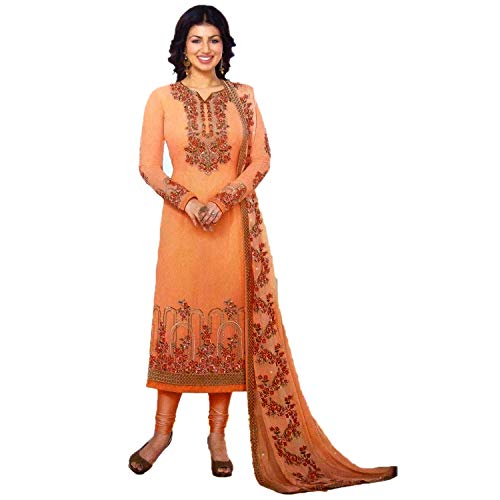 Fashion House Designer Peach Color Gerogette Fabric With Heavy Embroidery Work Straight Salwar Kameez Suite