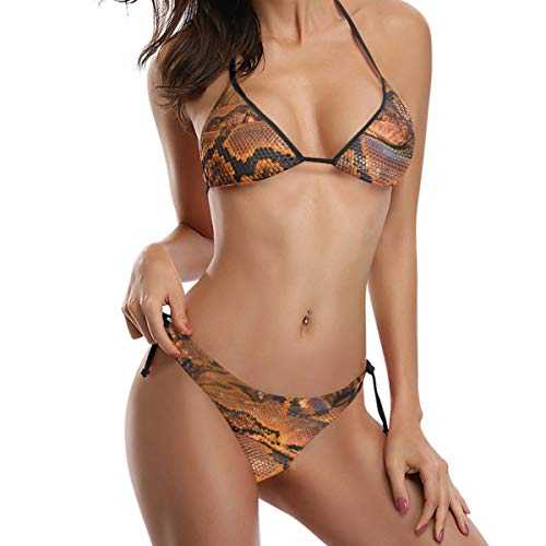 HEOEH Damen Bikini Badeanzug Set Lippen Reptil Schlange Python Tie Side Bottom Push Up Gepolsterte Oberteil Triangle Badeanzug - Mehrfarbig - X-Large