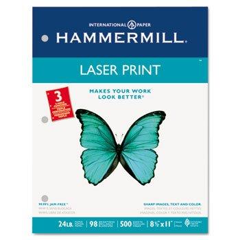 Laser Print Office Paper, 3-Hole Punch, 98 Brightness, 24lb, Ltr, White, 500/Rm (Print Lb Laser Hammermill 24)