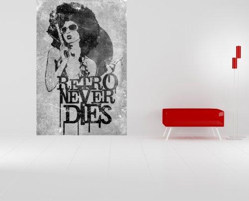 Bilderdepot24 Vlies Fototapete - Retro Never Dies - schwarz Weiss - 150x225 cm - mit Kleister - Poster - Foto auf Tapete - Wandbild - Wandtapete - Vliestapete