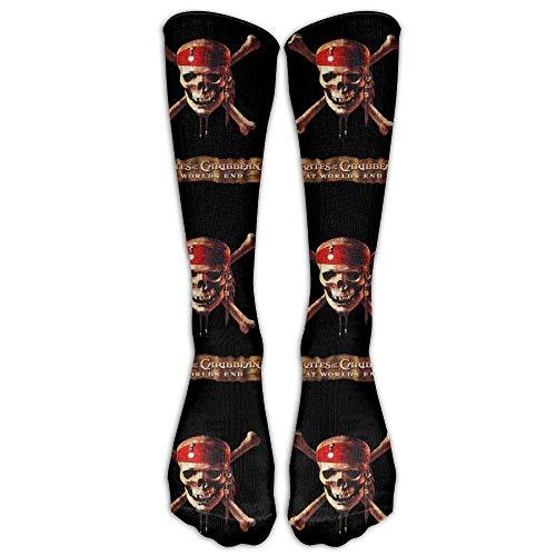 Nicegift Men's Women's Funny Pirates Caribbean Long Sock Athletic Calf High Crew Soccer Socks Sports 19.7 inch