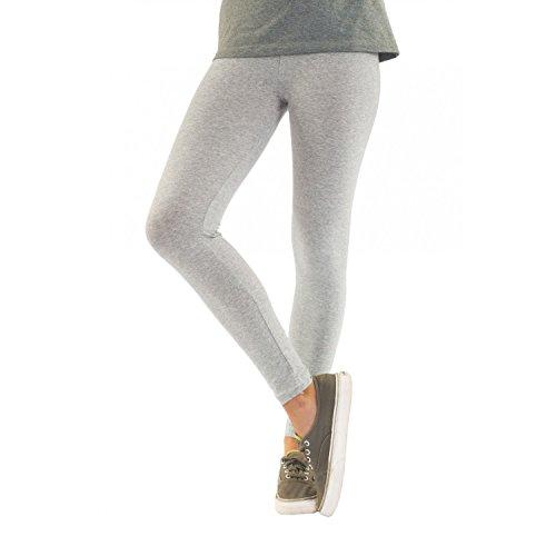 Blickdichte Damen Leggings aus Baumwolle Leggins Knöchellang in schwarz weiß grün grau rot gelb, Farbe: Melange / Grau, Größe: 44-46 (Schwarz Passt Grau)