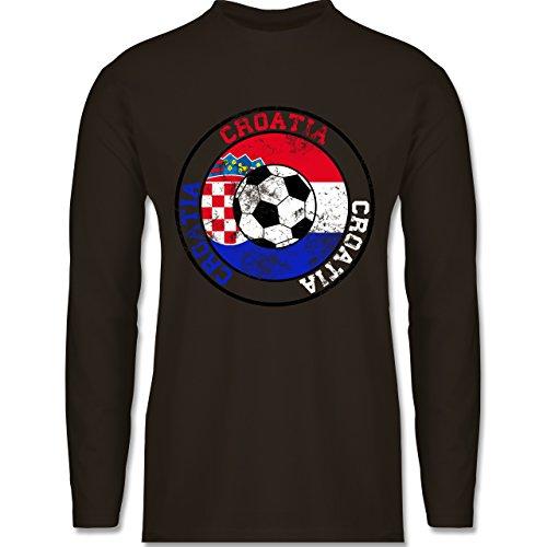 Shirtracer Fußball-WM 2018 - Russland - Croatia Kreis & Fußball Vintage - Herren Langarmshirt Braun