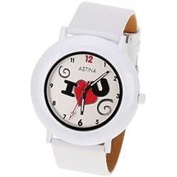 White leather 'I Love U' ladies fashion watch