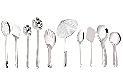 PETALS Stainless Steel Cooking and Serving Spoon, Set of 10