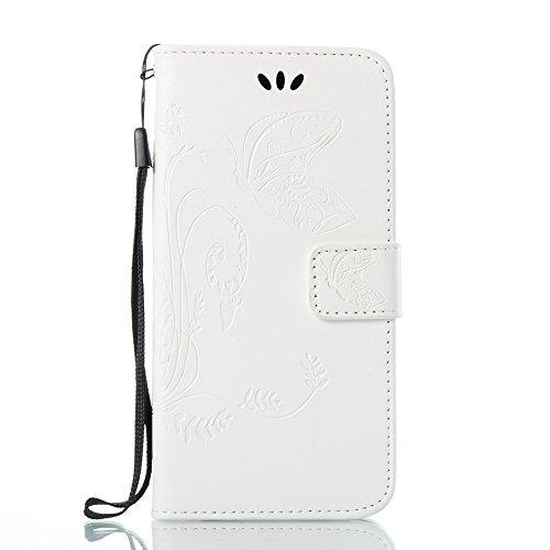 EKINHUI Case Cover Solid Color Faux Leder Bookstyle Brieftasche Stand Case mit geprägten Flower & Lanyard & Card Slots für Samsung Galaxy J3 2017 European Edition ( Color : Rose ) White