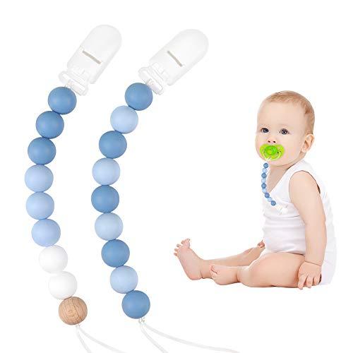 Baby Schnullerkette Jungen oder Mädchen Selber Clip Zahnen Silikon Blau für Machen Neugeborene, Baby Dusche oder Tauf Geschenk, Kinders Geburtstagsgeschenke (Blue)
