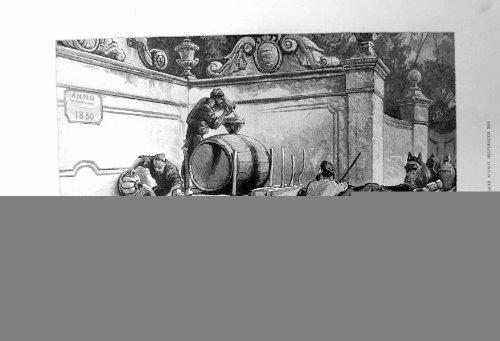 la-stampa-antica-della-fontana-a-cintra-vicino-allacqua-di-schizzo-di-lisbona-barrels-1883