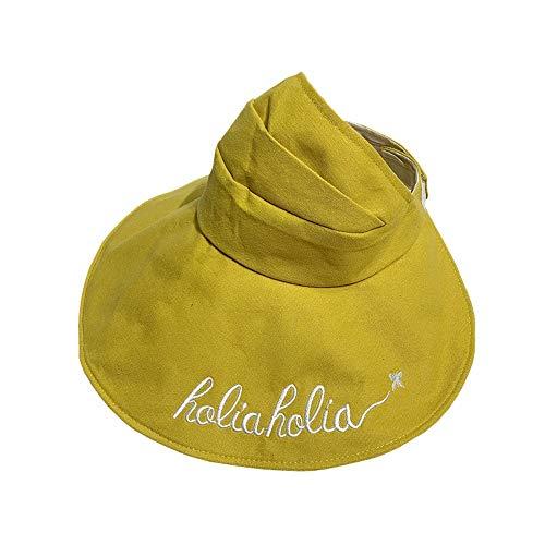 Tinte Hut Reisesonnenschutz Sonnencreme Big Red Net Leerer Zylinder Faltbarer Topless Fischerhut (Color : Yellow) - Unten Big Zylinder