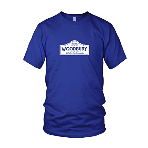 Woodbury - Herren T-Shirt, Größe: L, Farbe: blau (The Walking Dead Walker Kostüm)