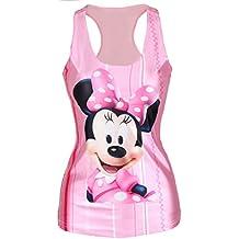 Nuevas señoras rosa bebé Minnie Impresión tanque chaleco Top verano Tops Club wear Ariel ropa talla única 8–12