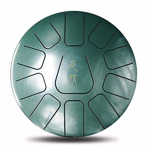 Alextry 25,4cm Acciaio Lingua Drum Handpan D Major 11Notes Mano Tankdrum Bacchette Set in Borsa Dark Green