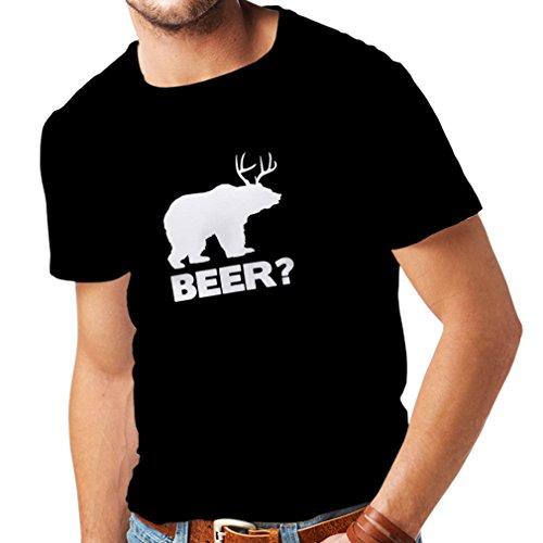 N4065 T-shirt da uomo Birra (Small Nero Bianco)