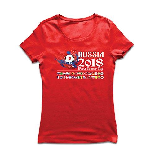 Champ Fitted T-shirt (lepni.me Frauen T-Shirt Russland-Weltcup-Cup 2018, alle 32 nationalen Fußballmannschaft Flaggen (XX-Large Rot Mehrfarben))
