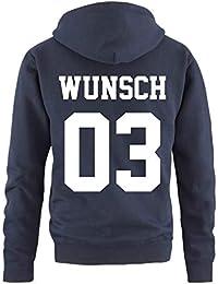 Comedy Shirts Partnerlook Hoodie mit Wunschname   Wunschnummer  INDIVIDUALISIERBAR – Pullover für Pärchen, Familie   b9d85e52d5