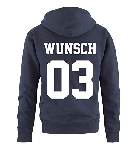 Comedy Shirts - Wunsch - Herren Hoodie - Navy/Weiss - Gr. XXL Bruder Hoodie