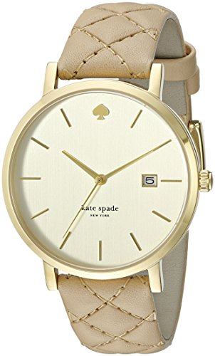 Kate Spade Women's New York Metro Grand 38mm Beige Leather Band Gold Tone Steel Case Quartz Watch 1YRU0844