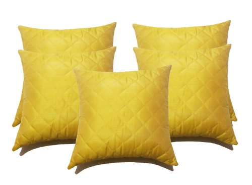 Zikrak exim box quilting cushion cover yellow 5 pcs set 40 x 40 cm