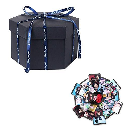 CHRONSTYLE DIY Fotoalbum, Überraschung Explosion Box Scrapbook Faltendes Foto-Album mitAufkleber für Valentinstag, Hochzeit, Geburtstag, Festivalgeschenk (Schwarz, OneSize) -