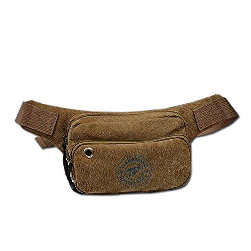 Wewod Riñonera Cinturón para Hombre Bolso de la Cintura de Moda de Lona Trabajo Deportes Viajes 19 x 12 x 7 cm (L*H*W) (Caqui)