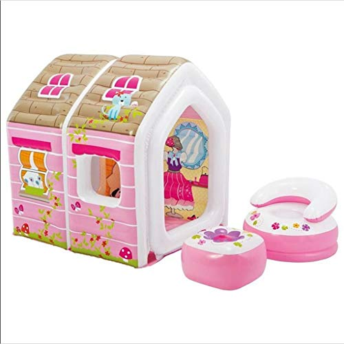 Bouncy Castles Children's Toys Girls Dream Playground Princess Entertainment Indoor Toy Cabin Creative Children's Gifts (Color : Pink, Size : 124 * 109 * 122cm)