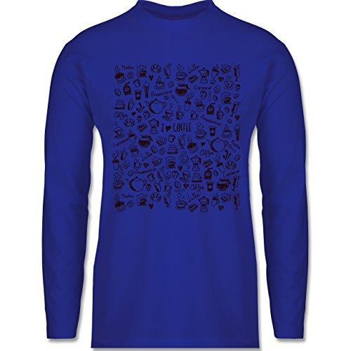 Shirtracer Statement Shirts - Kaffee Scribble - Herren Langarmshirt Royalblau