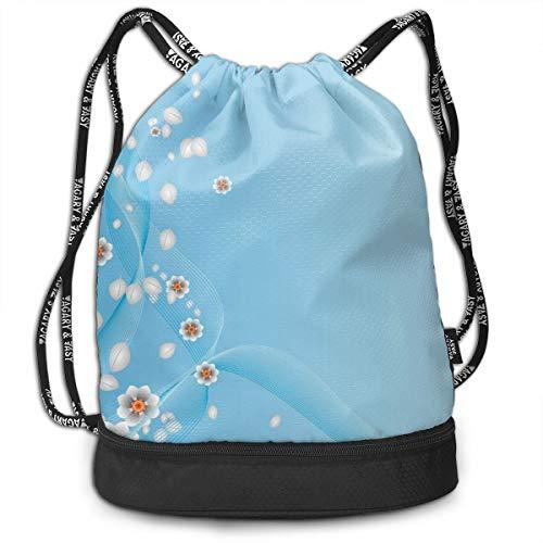 3de438730778 Printed Drawstring Backpacks Bags,Floral Flowers Leaves Swirl Ivy One Frame  With Digital Vintage Modern Artwork,Adjustable String Closure