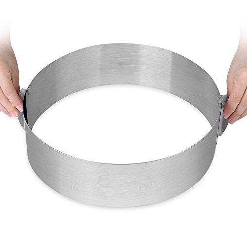 Anillo redondo de acero inoxidable ajustable para tarta, molde de tiramisu redondo, de 15 a 30 cm, ajustable retráctil acero inoxidable para hornear en casa
