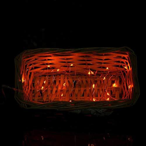 FeiliandaJJ Lichterkette, 2M 20pc Knopfbatterie Kupferdraht Schnur Innen/Außen Deko Hochzeit Party Halloween Weihnachten Haus Deko String Lights 2X CR2032 Batterien (Orange)
