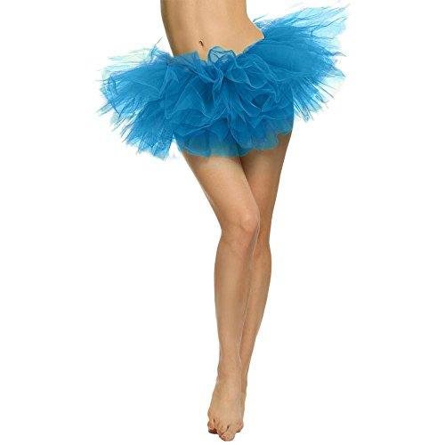 YWLINK Damen HüBsches MäDchen TüLl Kleid Crinoline Ballet Tanzkleid Unterrock Karneval Party Rock Vintage Petticoat Erwachsenen Tutu 5 Schicht Mesh Rock Mini Rockabilly Kleid (Blau Erwachsene Für Tutu)