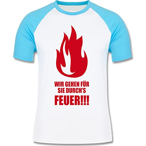 Feuerwehr - Wir gehen für Sie durchs Feuer - zweifarbiges Baseballshirt für Männer Weiß/Türkis