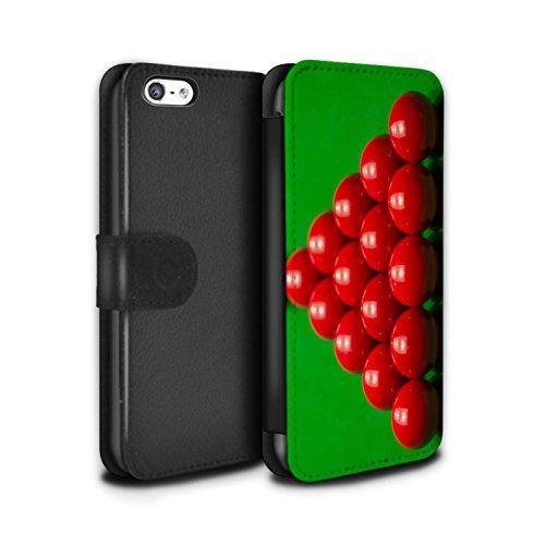 Stuff4 Coque/Etui/Housse Cuir PU Case/Cover pour Apple iPhone 5C / Boul Blanc Design / Snooker Collection Rack
