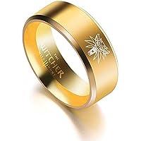 CAXYBB Ring Freies verschiffen Brand Game The Witcher 3 Wild Gold Jagd Ring Edelstahl Medaillon Schwarz und Gold Ringe für Männer Punk Wolf Ringe